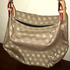 Dooney & Bourke canvas and leather strap bag